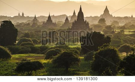 The archeological site of Bagan at sunset, Myanmar