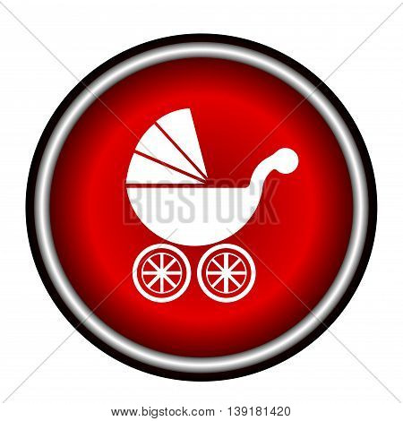 Isolated white baby carriage silhouette on red circle