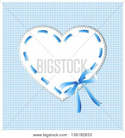 white-blue sewing background and lace heart with bow