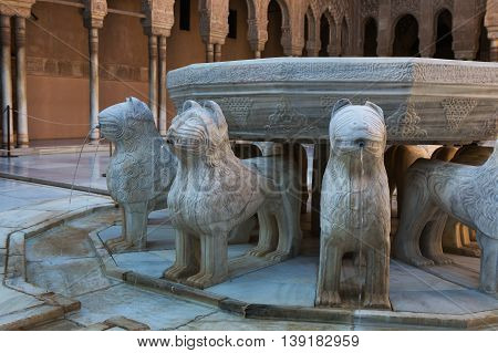 GRANADA, SPAIN - 30th of October, 2014: Detail of fountain in the Courtyard of the Lions. It is main courtyard of the Nasrid dynasty Palace of the Lions in fortress complex Alhambra in Granada. Spain