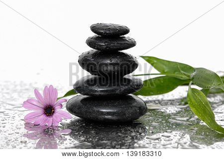 Still life with stacked stones ,bamboo leaf