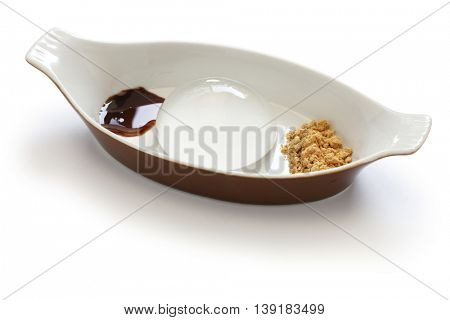 water cake, raindrop cake, mizu shingen mochi, homemade japanese summer dessert isolated on white background