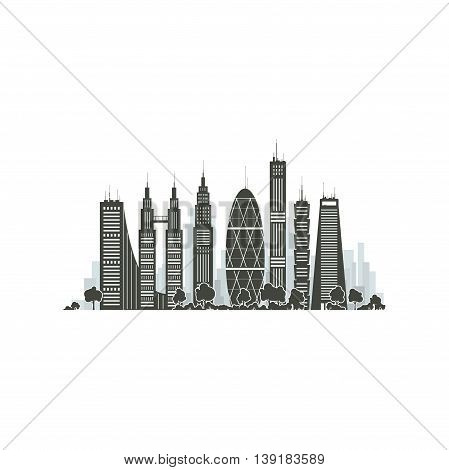 Modern Big City with Buildings and Skyscraper Isolated on White Background, Architecture Megapolis, City Financial Center, Vector Illustration