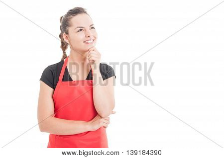 Smiling Female Employee Planning Something