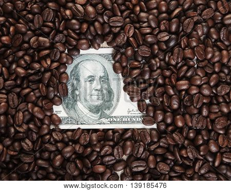 Photo Close Up Dollars Covered With Coffee Beans Bg