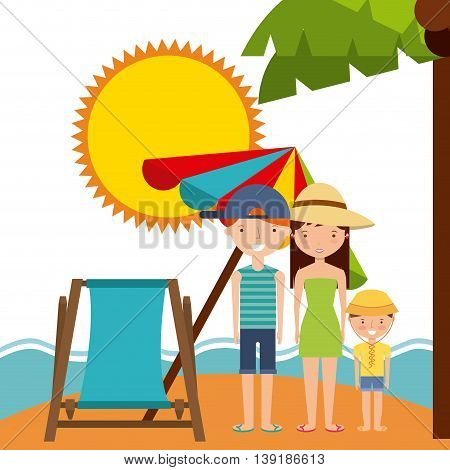 Summer and vacation concept represented by chair umbrella family sun icon. Colorfull and flat illustration.