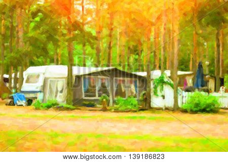 Summer outdoor camping in Scandinavian forest. Wild vacation Hiking in Nordic countries. Traditional camping in camps and tents. Finland. Photo stylized pictorial representation