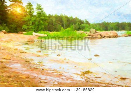 Summer outdoor camping at Scandinavian lake. Wild vacation Hiking in Nordic countries. Traditional camping in camps and tents. Finland. Photo stylized pictorial representation