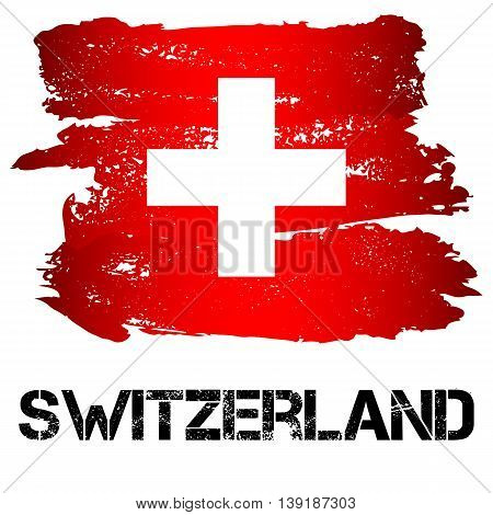 Flag of Switzerland from brush strokes in grunge style isolated on white background. Country in Western Europe. Vector illustration