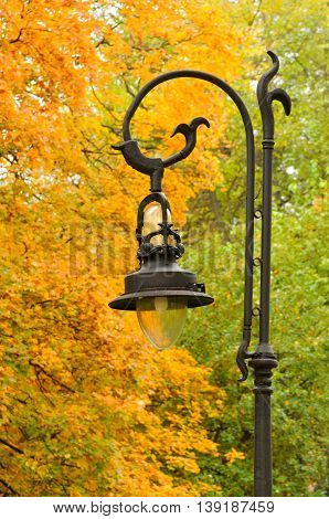 Retro lantern in the park autumn .