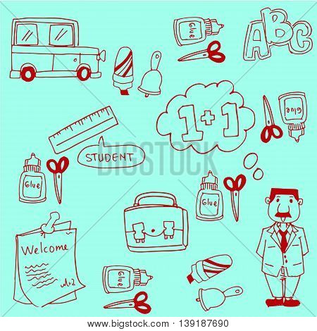 Doodles school collection stock vector with hand draw