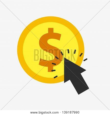 Money concept represented by coin and cursor icon. Colorfull and flat illustration.