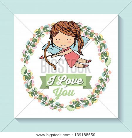 Love concept represented by girl angel and flower crown icon. Colorfull and flat illustration.