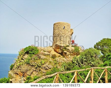 Banyalbufar Majorca Spain - June 23 2008: Torre del Verger - northwest coast of Majorca a famous viewing tower in the Sierra de Tramuntana mountains