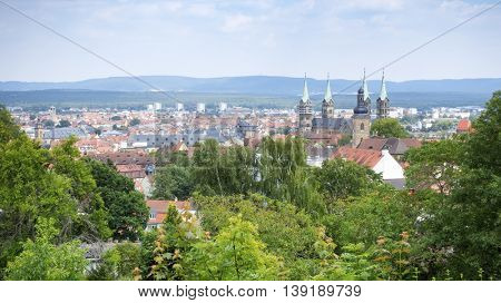 An image of a panoramic view over Bamberg Bavaria Germany