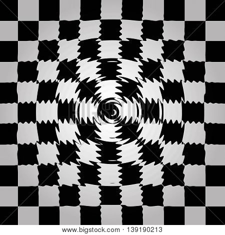 Black And White Circle Distort Chessboard  Background Illustration