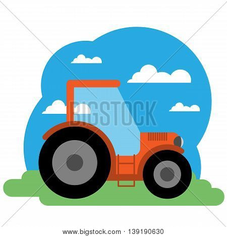 Vector illustration of tractor. Grouped for easy editing.