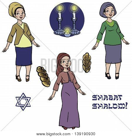 cute jewish religion women in kosher wear with hala candles ready to shabat