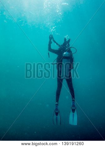 the diver is diving in the sea Myanmar