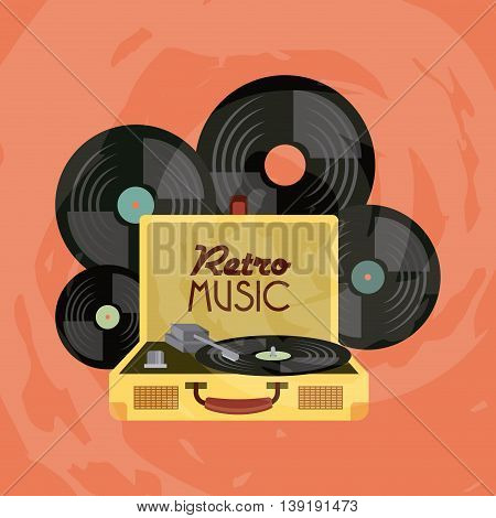 Retro and Music concept represented by vinyl icon. Colorfull and vintage illustration.