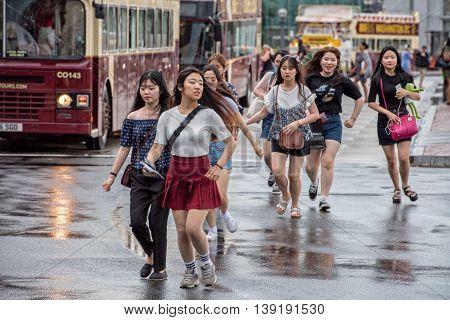 Washington D.c., Usa - June, 21 2016 - Asian Girls Runnign Outside Union Station
