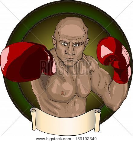 Boxer in red gloves punch green round frame