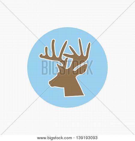 Deer head icon - vector illustration, wild nature symbol