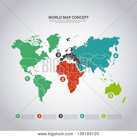 World and Map concept represented by earth and infographic icon. Colorfull and flat illustration.
