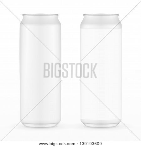 Two White Metal Aluminum Beverage Drink Can 500Ml With Label And Without. Isolated On Background.