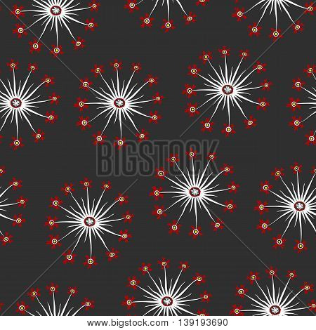 Red And Gray Dandelion Seamless Pattern