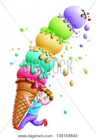 Ice Cream Scoops / A boy balancing the ice-cream scoops