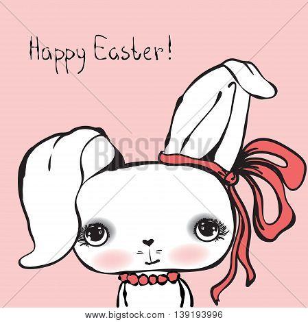 Cute rabbit girl portrait, Happy easter card