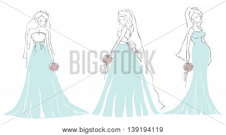 Set of beauty brides with flowers for wedding invitation