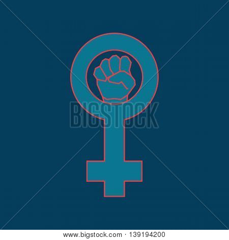 Blue feminism symbol. Geometric simple line art