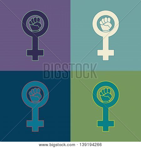 Feminism geometric symbol set. Four color variations