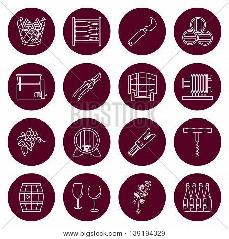 Set of winemaking and wine tasting icons in modern thin line style isolated on red background. High quality outline symbol collection. Simple mono linear pictogram pack. Stroke vector logo concept