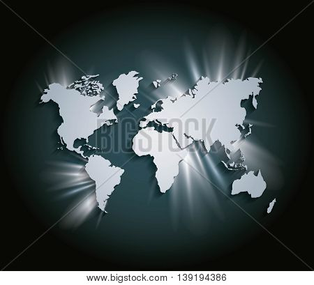 World and Map concept represented by earth and shiny icon. Grey and illuminated illustration.