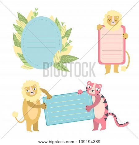 Cute printable photo frames and journaling cards with tiger and lion for your design. Scrapbook and journal stickers, to do lists, cards for beautiful summer memories.