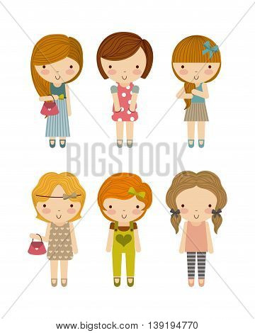 Little Kids and cute people concept represented by group of girls icon. Colorfull and isolated illustration.