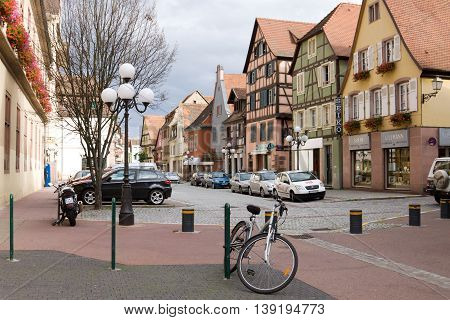 SELESTAT, FRANCE - SEPTEMBER 08, 2010: Selestat cityscape. Selestat is a commune in Alsace France. The city is one of the richest and most varied in terms of architecture among the smaller cities of Alsace.
