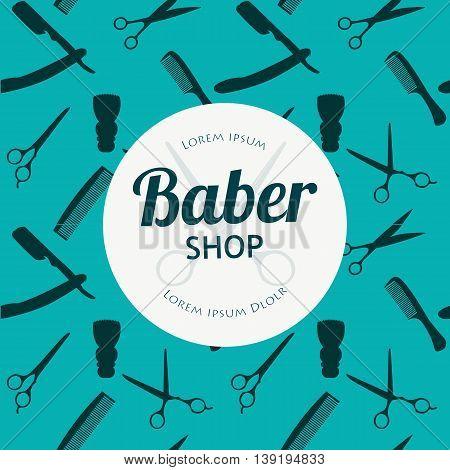 Barber Shop or Hairdresser background set with hairdressing scissors, shaving brush, razor, comb for man salon vector illustration for baber shop