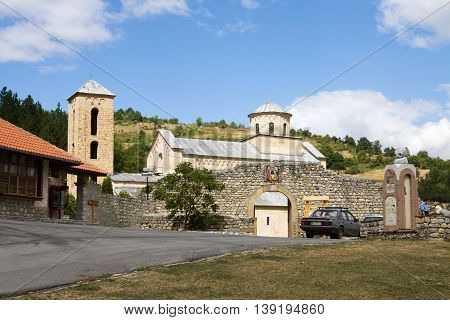 SOPOCANI SERBIA - AUGUST 27 2012: The orthodox Sopocani monastery in Serbia general view. The monastery is a designated World Heritage Site. The church of monastery was dedicated to the Holy Trinity and completed around 1265.
