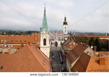 The Upper Town in Zagreb city view from a tower. Zagreb is the capital and the largest city of Croatia. The Upper Town (Gornji Grad) is one of the historical districts of city. In the background is the church of St. Mark.