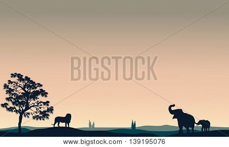 Silhouette of animals elephant lion on the hills