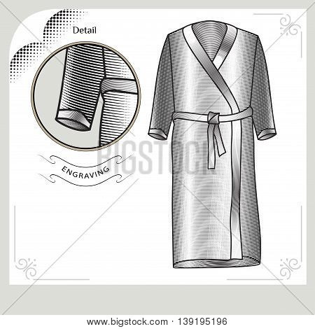 Accessories for swimming an engraving style. Bathrobe Vector image