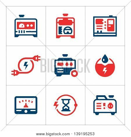 Set color icons of electrical generator isolated on white. Vector illustration