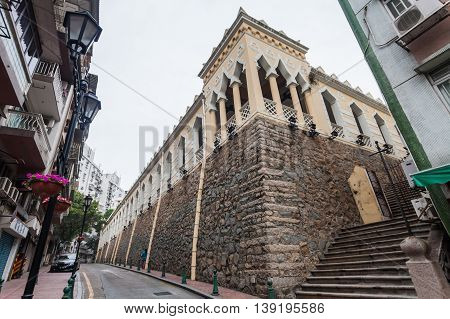 Senado, Macau - February 3, 2015: Moorish Barracks was originally the barracks of Indian soldiers appointed from Goa to Macau.The brick and stone neo-classical structure with Mughal influences standing on a raised granite platform above the street.