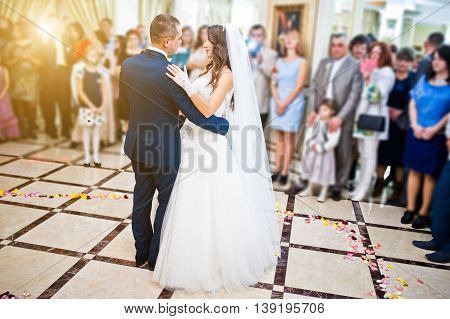 Wonderful Wedding Newlyweds Dancing At The Restaurant With Light