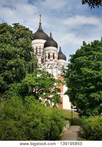 View to Alexander Nevsky cathedral in summer