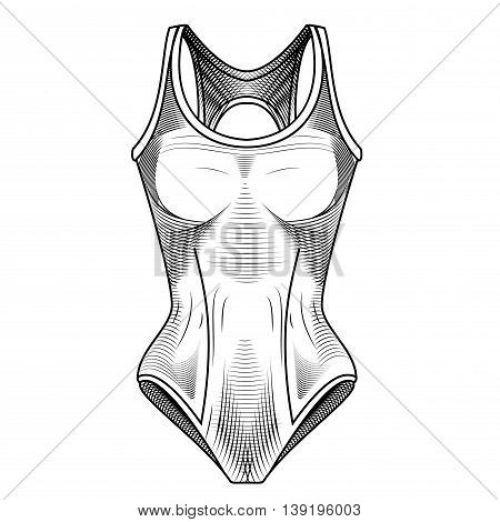 Swimsuit Vector stock image. Clothes for swimmers. Sportswear. Water Sports. Fashion illustration of swimsuits. Vector illustration of women's sport swimsui